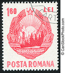 Romania arms - ROMANIA - CIRCA 1953: stamp printed by...