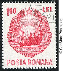Romania arms - ROMANIA - CIRCA 1953: stamp printed by...