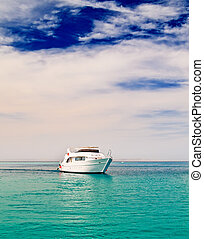 Alone yacht in the sea. - Yacht entering in to the turquoise...