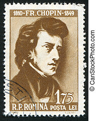 Frederick Chopin - ROMANIA - CIRCA 1960: stamp printed by...