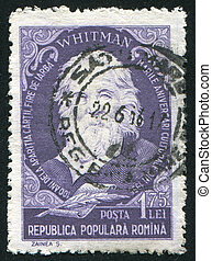 Walt Whitman - ROMANIA - CIRCA 1955: stamp printed by...