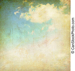 vintage cloudy sky - vintage background collage - cloudy sky