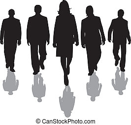 workers silhouette - team of office workers in silhouette