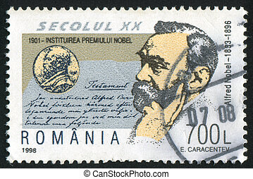 Alfred Nobel - ROMANIA - CIRCA 1998: stamp printed by...