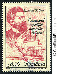 Frederick Cook - ROMANIA - CIRCA 1997: stamp printed by...