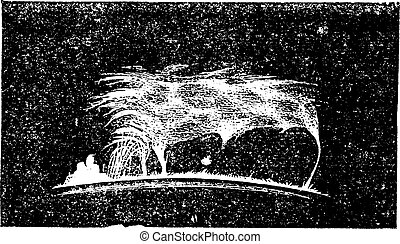 The view Solar prominence vintage engraving