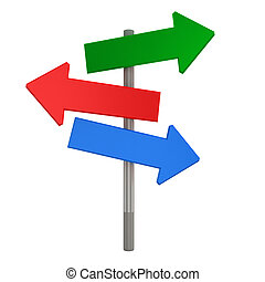 3d Index of arrows on a white background