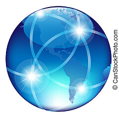 Abstract Blue Globe, Isolated On White Background, Vector...