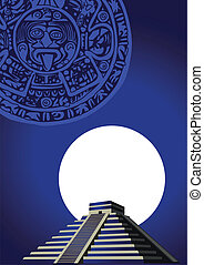 Mayan Pyramid - Illustration with ancient Mayan Pyramid and...