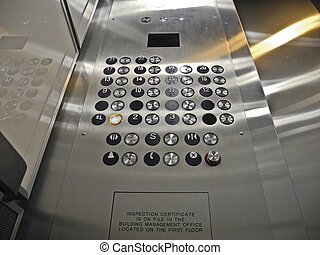 Elevator Control Panel - View of elevator buttons as seen...