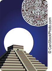 Antique Mayan Pyramid and Calendar - Illustration with...