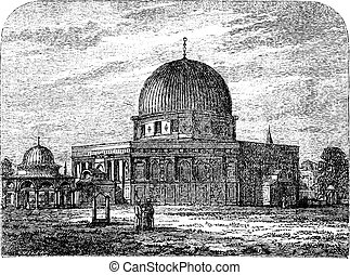 Dome of the Rock in Jerusalem Israel vintage engraving -...