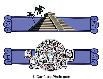 Antique Mayan Pyramid and Glyphs - Illustrations with Mayan...