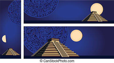 Mayan Pyramid - IllustrationsIllustration with ancient Mayan...