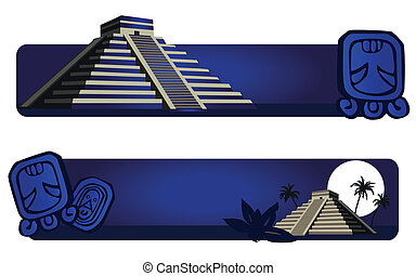 Mayan Pyramid - Illustrations with Mayan Pyramid and ancient...