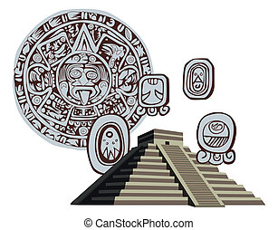 Antique Mayan Pyramid and Glyphs - Illustration with Mayan...