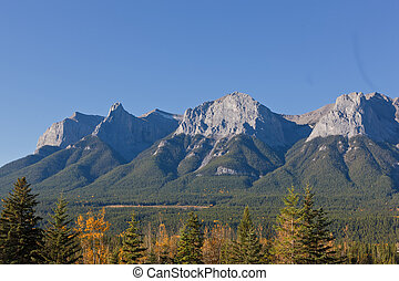 Canadian Rockies - View of Majestic mountains from Canomore,...