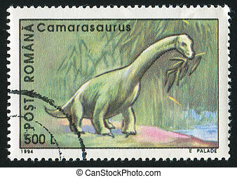 Camarasaurus - ROMANIA - CIRCA 1994: stamp printed by...