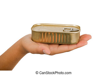 Hand with tin