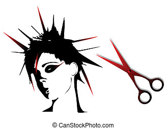 Woman punk hairstyles isolated on white background