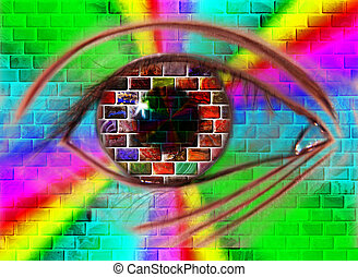 eye - A human eye on the wall of  of gemstones by light
