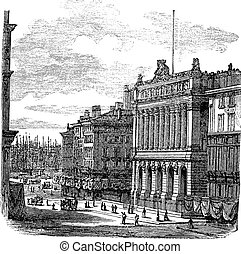 The Bourse Marseille or Palais de la Bourse in Marseille France vintage engraving