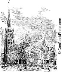 Trinity Cathedral in Newark, New Jersey, USA, vintage engraved illustration