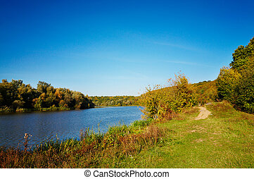 Splendid river by autumn - Beautiful panorama of autumnal...