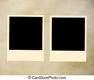 Photo polaroid frames on parchment background