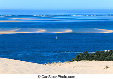 View from the highest dune in Europe - Dune of Pyla Pilat,...