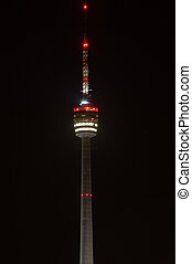 Stuttgart TV Tower at night - The Stuttgart TV Tower is the...