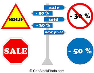 Abstract traffic signs on white background