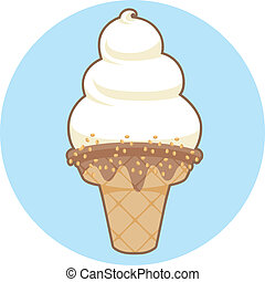 Soft Serve Ice Cream Icon - Spot illustration of whipped...
