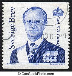 King Carl XVI Gustaf - SWEDEN - CIRCA 2000: stamp printed by...