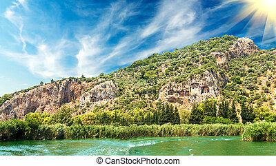 Lykian rock tombs. Dalyan,Turkey. - Tombs of the Lycian near...