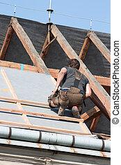 trabalhador, telhado
