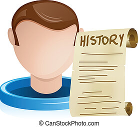 Man Head with History Old Paper - Vector - Man Head with...