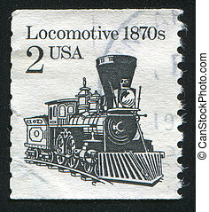 locomotive - UNITED STATES - CIRCA 1981: stamp printed by...