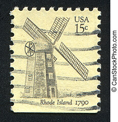 windmill - UNITED STATES - CIRCA 1978: stamp printed by...