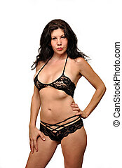 Lingerie model - A attractive Caucasian lingerie model is...