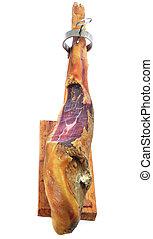 serrano ham - leg of spanish serrano ham in a jamonera, a...