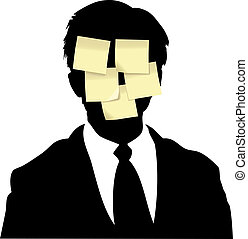 Sticky memo notes business man reminder