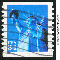 Statue of Liberty - UNITED STATES - CIRCA 2001: stamp...