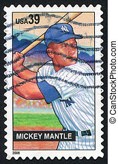 Mickey Mantle - UNITED STATES - CIRCA 2006: stamp printed by...