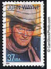 John Wayne - UNITED STATES - CIRCA 2004: stamp printed by...