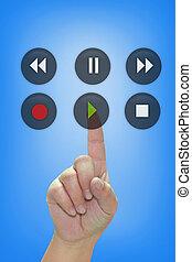 Hand pressing audio button
