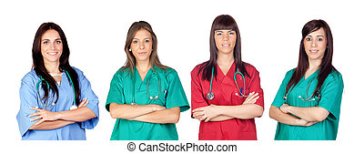 Medical team - Attractive medical team of woman a over white...