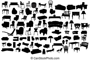 Furniture - Different furniture isolated on white background