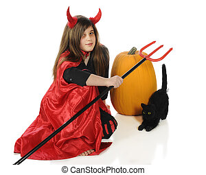 Halloween Devil - A pretty tween girl dressed as a devil...