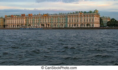 Hermitage Museum - Sunset on the seafront in front of the...